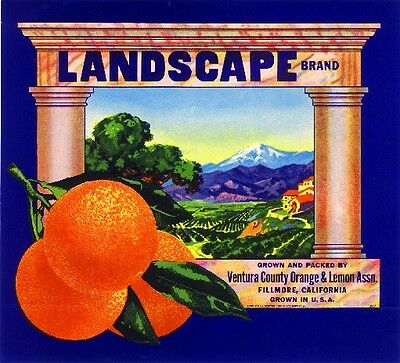 Fillmore Ventura County Landscape Orange Citrus Fruit Crate Label Art Print
