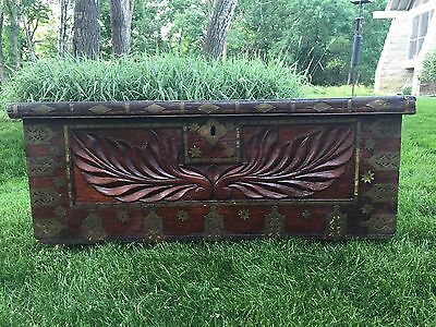 Vintage  Hand Carved Brass Boulle Accents Wooden Blanket Chest Trunk