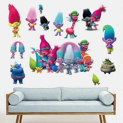 Trolls Poppy Characters Removable Wall decor kids Stickers nursery Children art