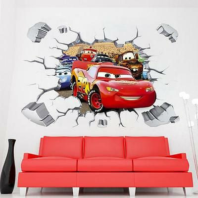 Cars Lightning McQueen Break through Wall decor kids Sticker nursery wall art
