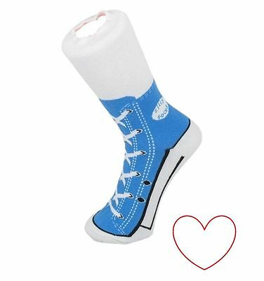 Boys Girls Sneaker Socks Silly Novelty Hightop Style Size 1-4 Blue