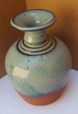 Small Vase Ceramic Pottery Signed Miller Hand Throw Glaze Eath ware Sequoia Blue