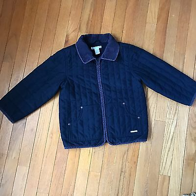 Janie and Jack Boys Navy Blue Quilted Barn Coat Jacket Outerwear Size 4T-5T