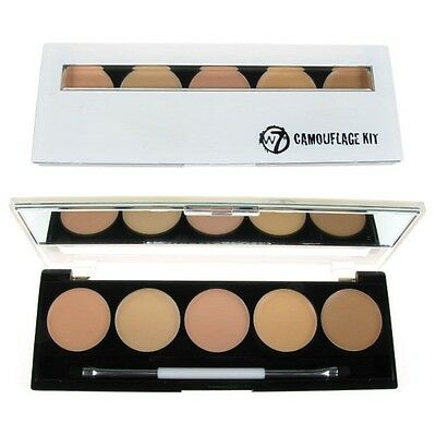 W7 Camouflage Kit Cream Contour Concealer Palette 5 Shades & Mirror & Brush