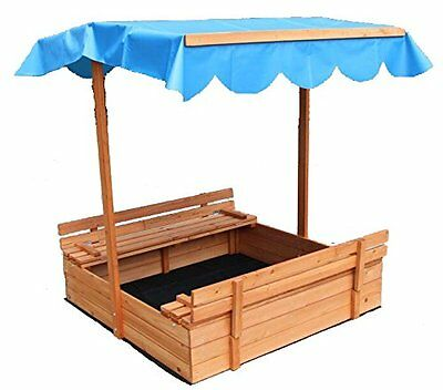Large Covered Canopy Sandbox Bench Seat Kids Sand Pit Outdoor Play Cedar Storage