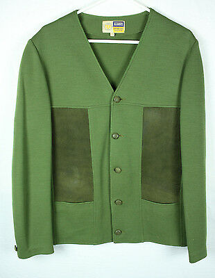 1950s Mens Green Suede Poly Cardigan Sweater Mens M L Rockabilly Hipster Campus