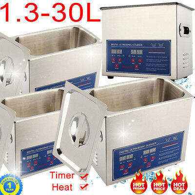 Stainless Steel Ultrasonic Cleaner Ultra Sonic Bath Cleaning Tank Timer Heate Uk