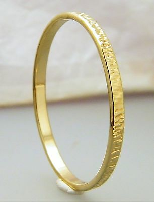 Gold Bark Pattern Creola Baby Bangle 22ct Gold Plated Size 48mm - 1 7/8""