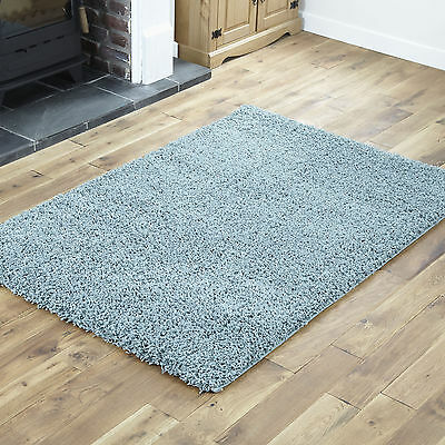 SMALL SHAGGY 40x60cm SIZE RUG NON SHED BEST QUALITY SOFT 5CM THICK DUCK EGG BLUE