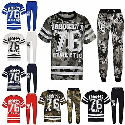 Boys Top Kids Designer Brooklyn 76 Camouflage T Shirt Tops & Trouser Set 7-13 Yr