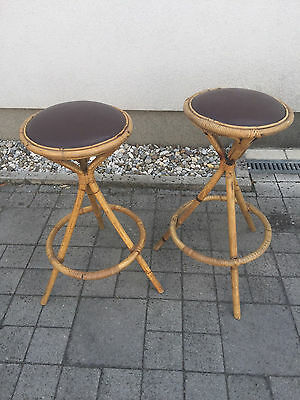 Vintage bamboo bar chairs pair