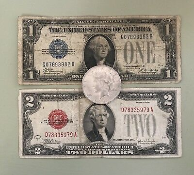 Estate Lot of $1 & $2 Series Of 1928 Notes & Silver Peace Dollar