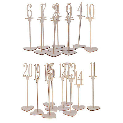 20pcs /Set Free Standing Wooden Table Numbers Heart Base Wedding Decor 1-20