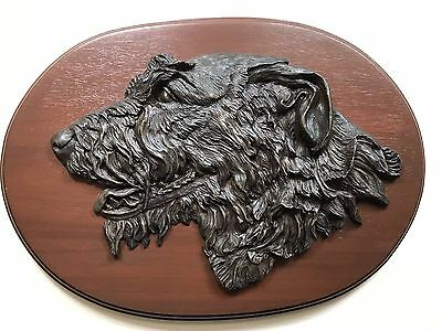 Irish Wolfhound Cold Cast Bronze Head Mounted on a Wood Plaque