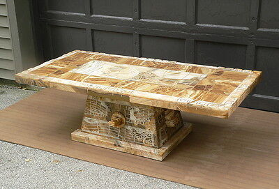 """ANCIENT ALIENS Mexico MULLER'S ONIX Aztec Onyx Kukulkan Heads 60"""" Coffee Table"""