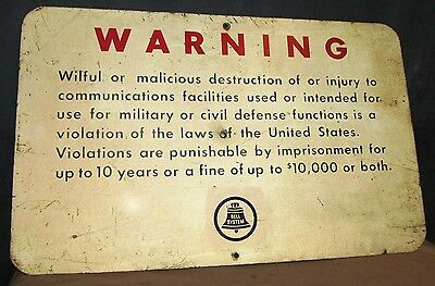 Vintage BELL SYSTEM Telephone Aluminum Warning Sign ~ 24 x 15 ~ S185