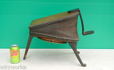 Steampunk Primitive Cast Iron Wood Leather Foot Op Dental Drill Air bellows