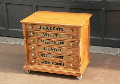 Restored Antique 6 Drawer J & P COATS Sewing Thread Spool Cotton Cabinet chest