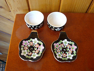 Vintage Knobler Tea Bag Strainers Set Of 2 Black W/ Cherry Blossoms And Leaves