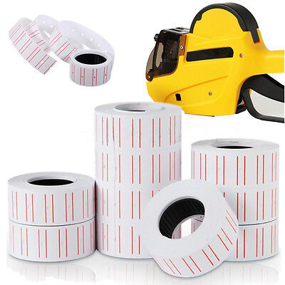10 Rolls Price Label Paper Tag Sticker MX-5500 Labeller Gun White Red Line JYUS