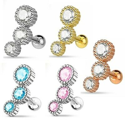 C0005 Stainless Steel 16g Triple Round Gem Cartilage Helix Upper Ear Earring