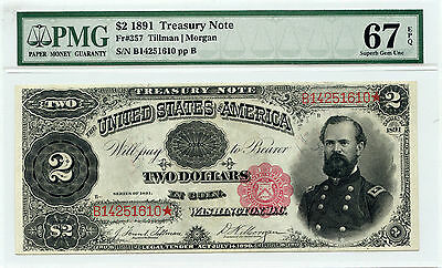 1891 $2 Treasury Note ( Tillman | Morgan ) Fr. 357 - PMG GEM 67 EPQ -