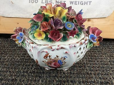 Capodimonte Italian, ornate, hand painted, basket weave, footed, covered dish.