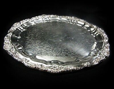 """Towle Silverplated 12"""" Round Etched Tray With Ornate Rim"""