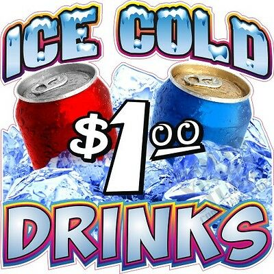 """7"""" Ice Cold Drinks Soda Pop Cool Concession Trailer Food Truck Restaurant Decal"""