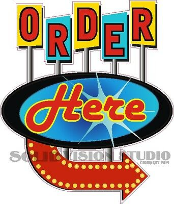 """14"""" Order Here R Concession Trailer Ice Cream Food Truck Restaurant Sign Decal"""