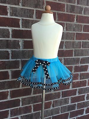 Club Tabby Turquoise Infant Tutu with Polka Dot Trim - 18 month
