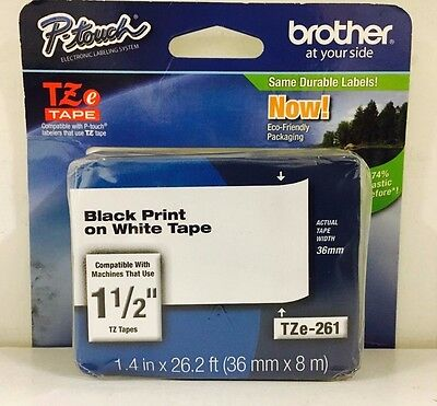 Brother Genuine TZe-261 P-Touch Laminated Tape Black On White in Retail Box