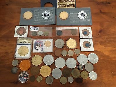 Vintage Old & Modern COINS and TOKENS Lot of (42) *NICE*
