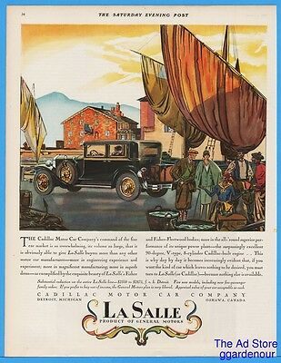 1928 Cadillac LaSalle Ad Shipyard With Foreign Trader Art Fisher Fleetwood Body