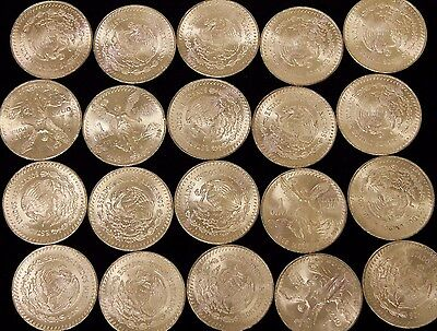 ROLL OF 20 BU 1982 MEXICO 1 OZ SILVER LIBERTAD BULLION COIN 1st Year of Issue