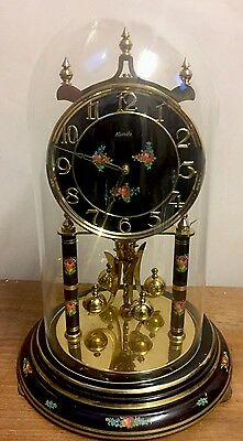 "German Anniversary Winding Movement Mantle Clock,Glass Dome 12""H 7""D"