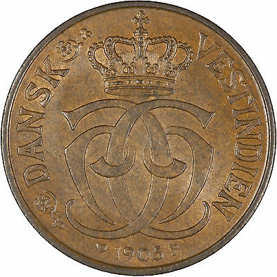 Danish West Indies 1905 1/2 Cent (2-1/2 Bit) CHOICE LUSTROUS UNC