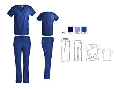Stylish Women's Nursing Medical Scrub Top with Nail heads Flare/Cargo Pants