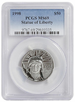 1998 Platinum Eagle Pcgs Ms69 $50 Only 3 Coins Higher Grade Statue Of Liberty