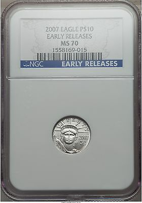 2007 Platinum Eagle Ngc Ms70 $10 Early Releases  Statue Of Liberty