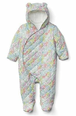 0 3 M BABY GAP Flower Bunting Footed Hooded Coat 1 Piece Girl New Born NWT