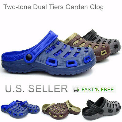 Men's Garden Clogs Shoes Slip-On Casual EVA Two-tone Lightweight Slipper Sandals
