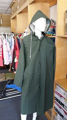 Men's Diamond Titan Waterproof Long Raincoat With Removable Hood PVC Protection
