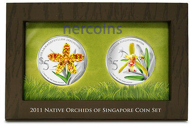 Singapore 2011 Native Orchids 2-coin Set of $5 Pure Silver Proof Coins Perfect