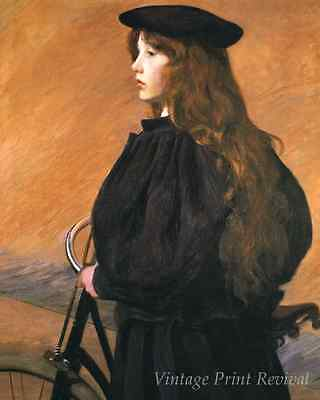 The Young Bicyclist by Lilla Cabot Perry - Girl Rider in Black 8x10 Print 1106