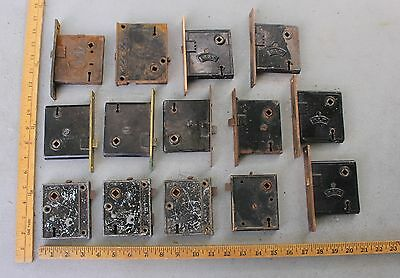 14 Misc Antique Door Lock assemblies Surface Mount In Door Vintage