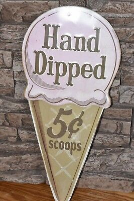 Vntg Style Ice Cream Sign Diner Bake Shop Metal Decor~Hand Dipped 5 Cent Scoops