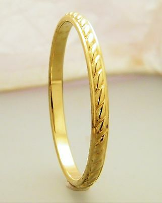 "Gold Wide Diagonal Ridge Pattern Creola Baby Bangle Size 45mm  - 1 3/4"" Plated"