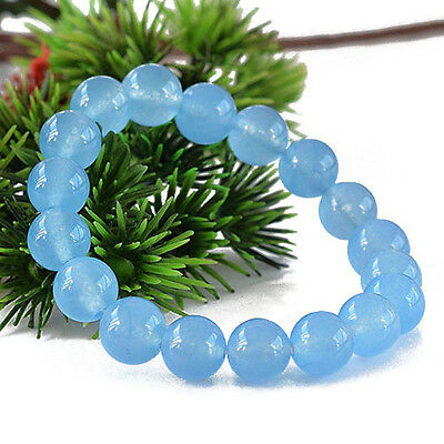 Natural Light Blue Chalcedony Gemstone Round Beads Stone Bracelet 6mm 8mm 10mm
