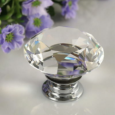 30mm Diamond Clear Crystal Glass Door Drawer Knob Handle Cabinet Wardrobe SM